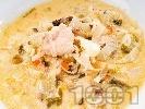 Рецепта Пиле с чесън задушено в лозови листа